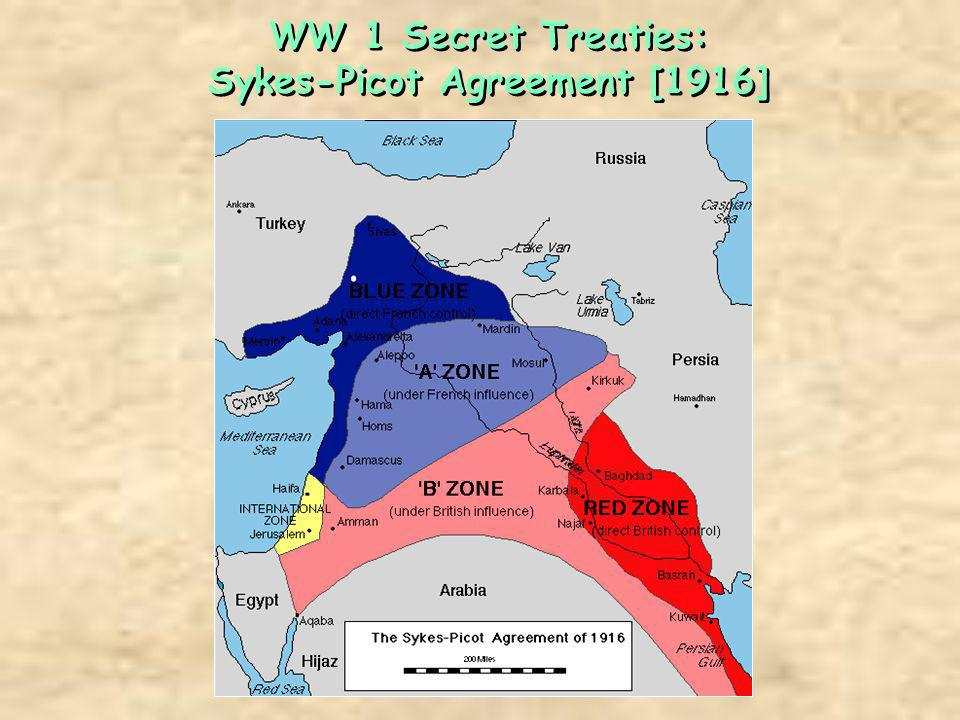 WW 1 Secret Treaties: Sykes-Picot Agreement [1916]